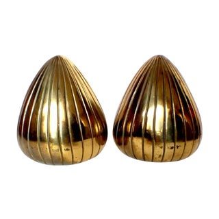 "Vintage Ben Seibel Brass ""Clam"" Bookends - Pair"