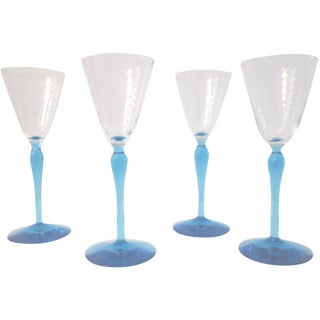 Sea Blue Stemmed Port Wine Glasses - Set of 4