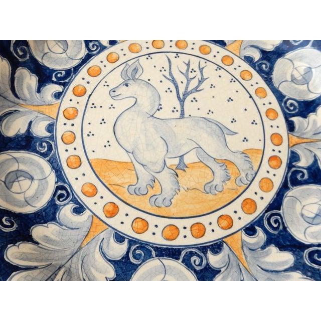 Vintage Italian Blue & Yellow Majolica Platter - Image 6 of 6