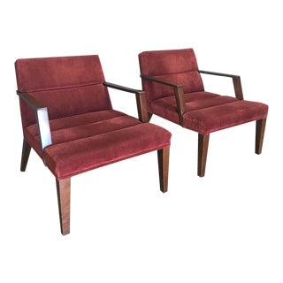 Bright Elana Burgundy Lounge Armchairs - A Pair