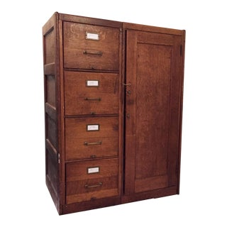 Antique Wooden Filing Cabinet With Attached Storage