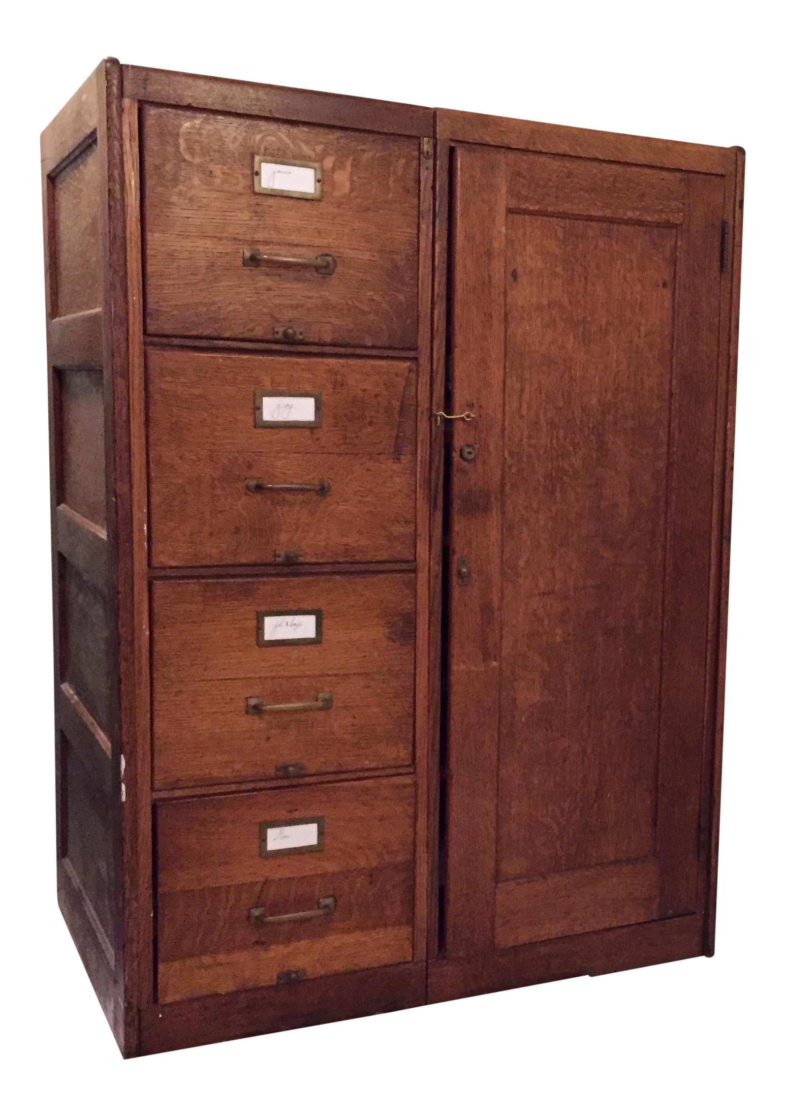 Amazing Antique Wooden Filing Cabinet With Attached Storage