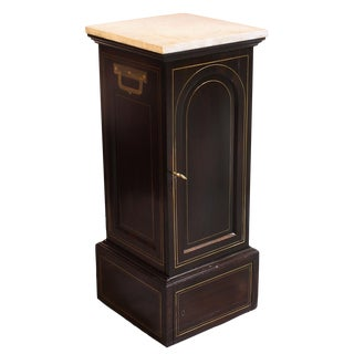Traditional 19th Century Equipment Case Cabinet With Marble Top