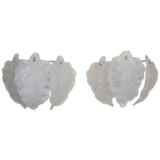 White Murano Glass Wall Sconces - A Pair