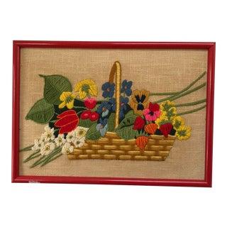 Vintage Flower Basket Crewel Embroidery Art