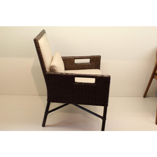 McGuire Thomas Pheasant Woven Leather Dining Arm Chair - Image 3 of 7