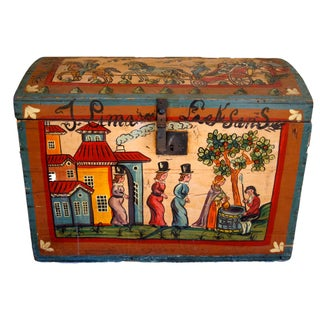 Painted Scandinavian Wooden Trunk