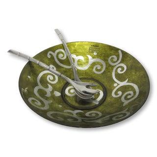 Hand Painted Turkish Salad Bowl & Pewter Tongs - Set of 3