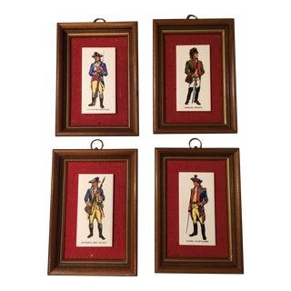 Framed Revolutionary Soldier Art on Tile- Set of 4