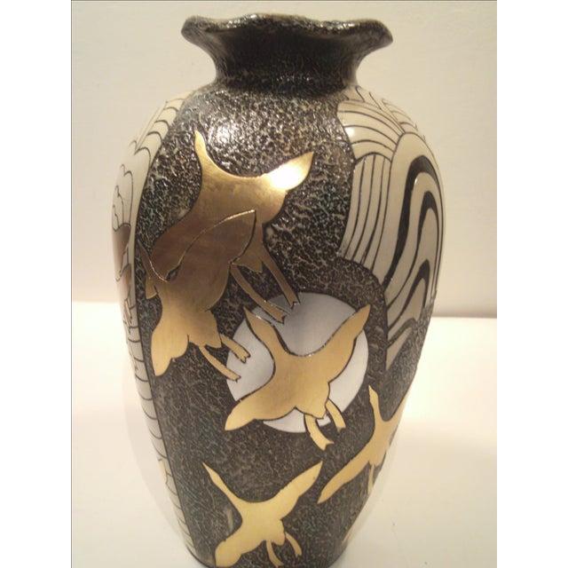 Large Alexander Kalifano Gold & Silver Leaf Vase - Image 5 of 10