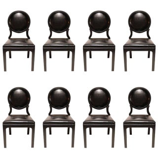 1980s Black Lacquered 1980s Dining Chairs - Set of 8