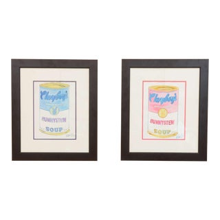 "Original Pair of Watercolors by Victoria Fuller 2005, ""Pink and Blue Bunny Stew"""
