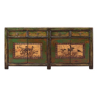 Light Green Long Sideboard with Scenery
