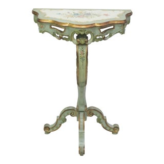 Italian Paint Decorated Demilune Console
