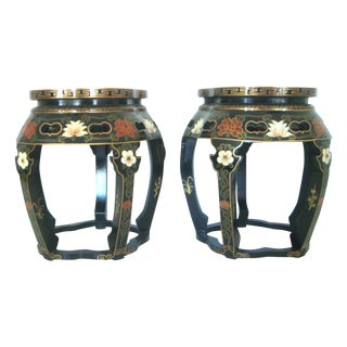Chinese Black Lacquer Drum Side Tables or Stools - a Pair