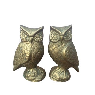 Vintage Brass Owl Figurines - A Pair