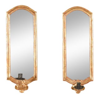 Gilt Wood Mirror Candle Wall Sconces - A Pair