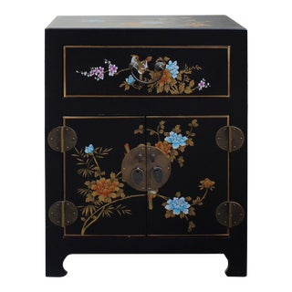 Chinese Black Color Flower Birds End Table Nightstand