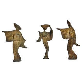 Bronze Geisha Sculptures - Set of 3