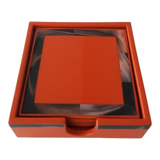 Bungalow 5 Cheval Orange Coasters - Set of 6