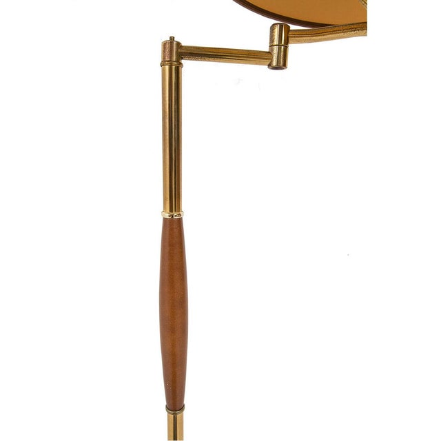 Brass MCM Floor Lamp With Wood Detail - Image 2 of 2