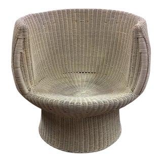 """Eero Aarnio Style Mid Century Woven Rattan """"Pod"""" Chair"""