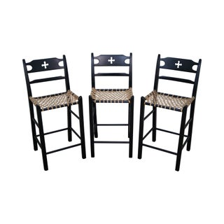 Black Painted & Woven Rawhide Seat Bar Stools - Set of 3