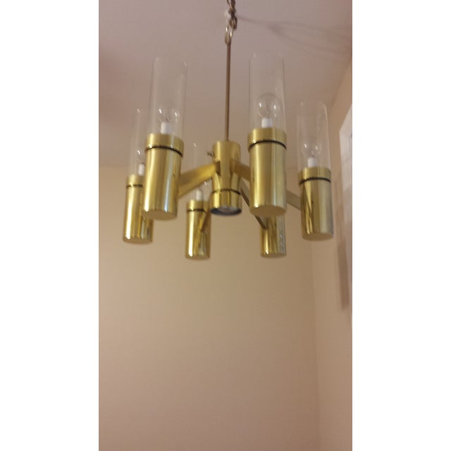 Brass 6 Arm Chandelier Attributed to Sciolari - Image 4 of 8