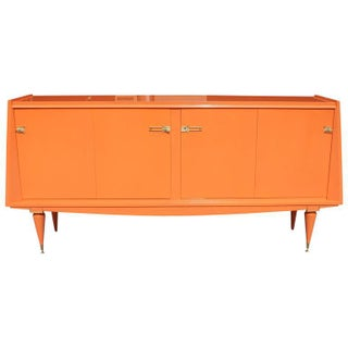 Art Deco Modern Orange Lacquered Sideboard