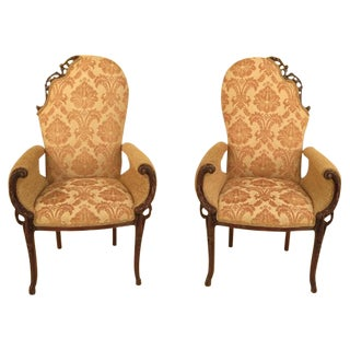 1950s Vintage French Style Fire Side Chairs - Pair