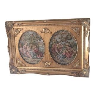 Vintage Parisian Framed Tapestry