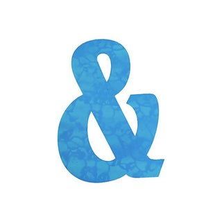 Large Blue Metal Marquee Ampersand