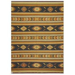 "Traditional Indian Kilim Rug - 8'2"" x 9'1"""