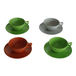Branchell Melmac Cups & Saucers - Set of 4