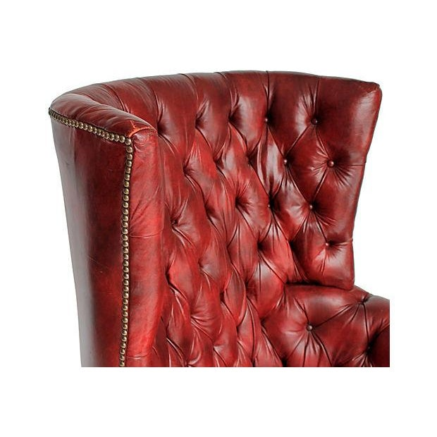 Tufted Leather Wingback Chair - Image 7 of 8