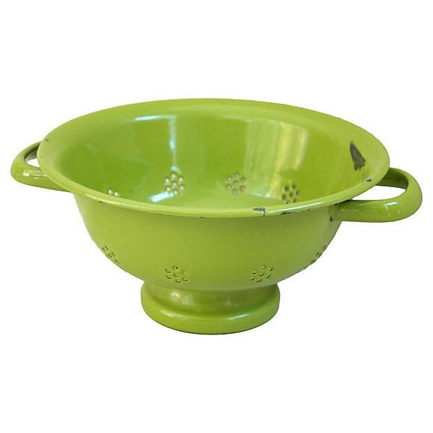 1930s Green French Porcelain Colander - Image 4 of 4