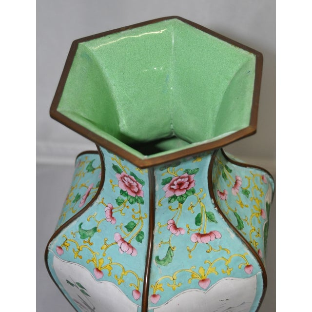 Early 20th Century Hexagonal Enameled Copper Vase - Image 5 of 6
