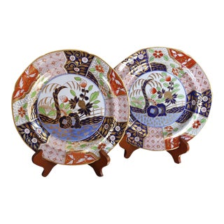 """Large Early English Spode """"Rock and Tree"""" Pattern Porcelain Plates - a Pair"""