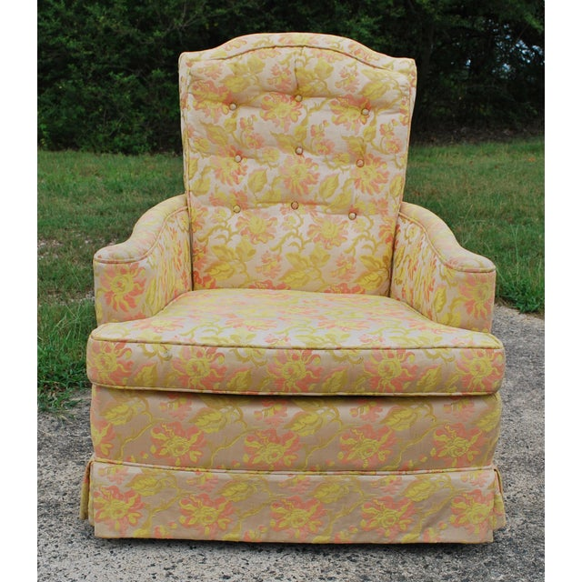 Image of Vintage Floral Damask Chartreuse Tufted Club Chair