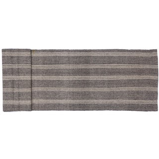 Vintage Gray Stripe Turkish Kilim - 3′8″ × 20′4″