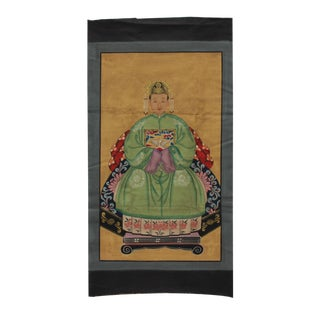 Chinese Vintage Canvas Color Ink Royal Lady Ancestor Paint Art