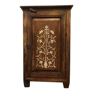 Vintage Carved & Stained Hard Wood Side Cabinet