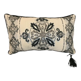 Raffia Embroidered Rectangular Pillow