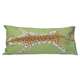 Green Motif Leopard Pillow