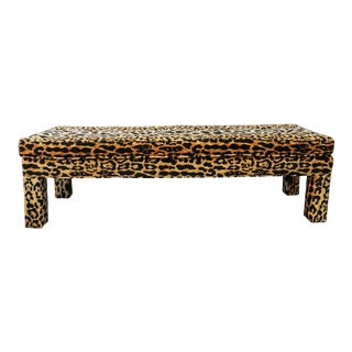 Ballard Serengeti Velvet Jamil Leopard Upholstered Bench