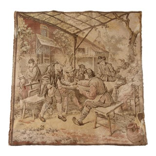 Antique French Tavern Scene Tapestry