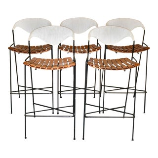 Vintage Arthur Umanoff Wrought Iron Barstools - Set of 5