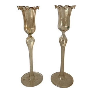 Murano Glass Candlesticks - A Pair