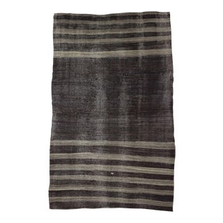 Vintage Turkish Gray Striped Kilim Rug - 6′9″ × 10′8″