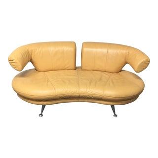 Modern Yellow Leather Loveseat